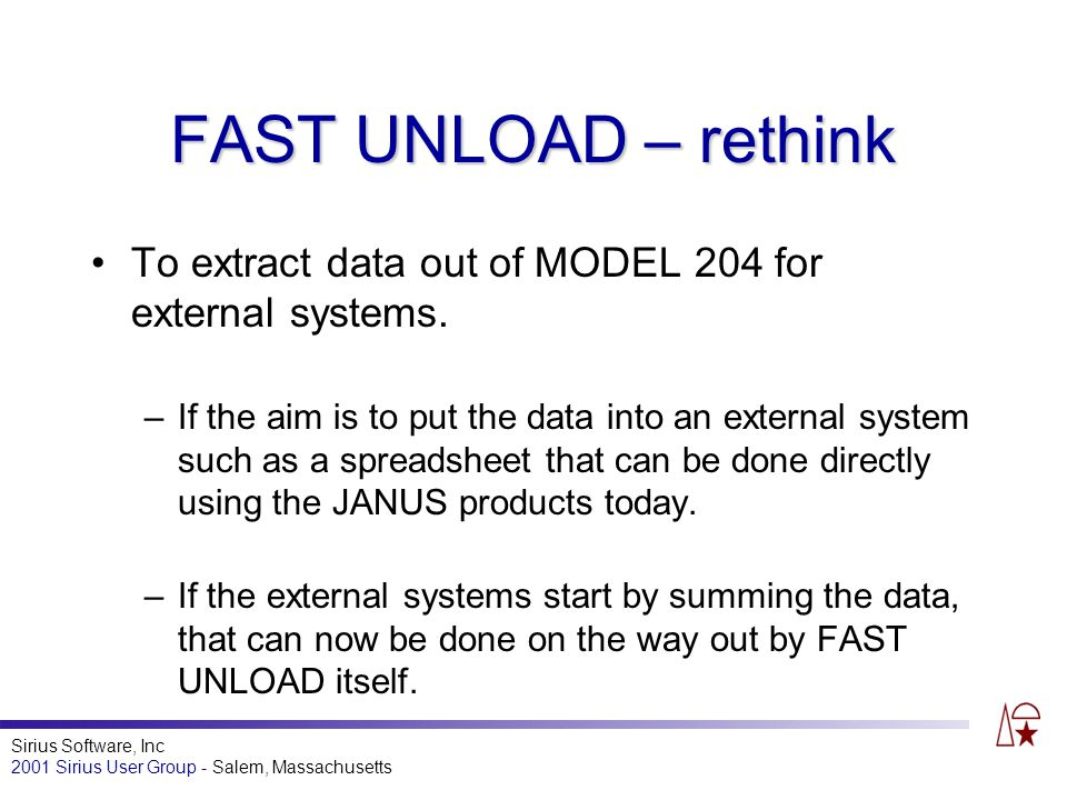 Sirius Software, Inc 2001 Sirius User Group - Salem, Massachusetts FAST UNLOAD – rethink To extract data out of MODEL 204 for external systems.