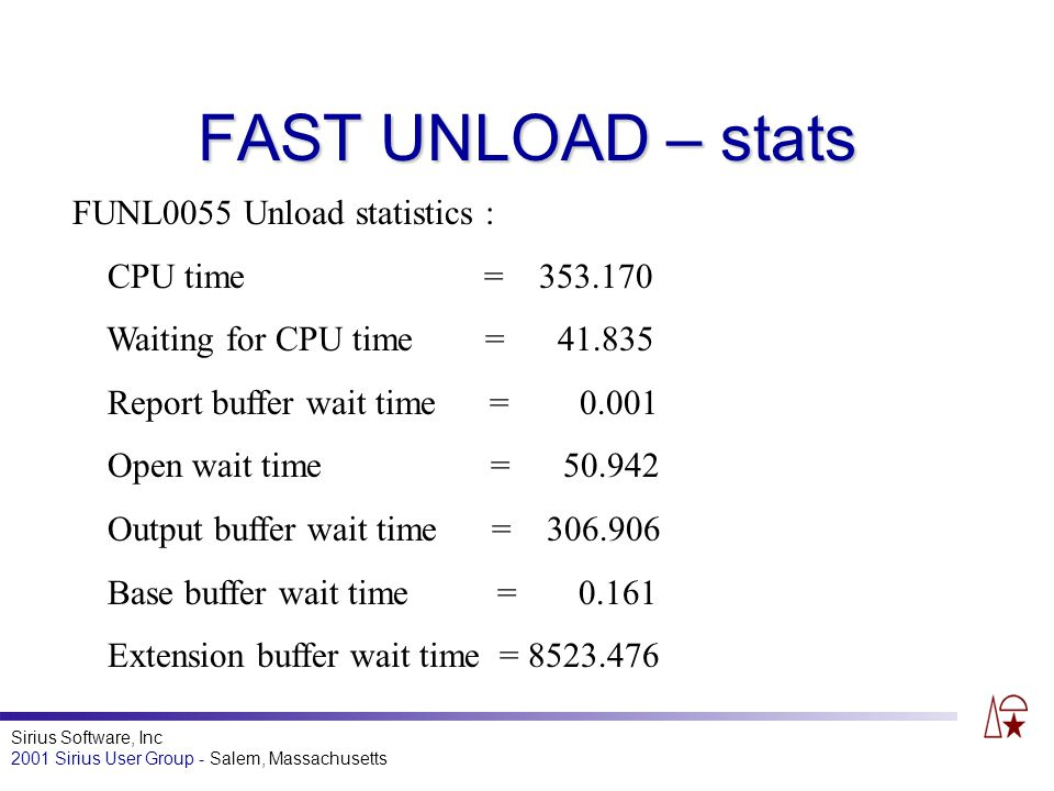 Sirius Software, Inc 2001 Sirius User Group - Salem, Massachusetts FAST UNLOAD – stats FUNL0055 Unload statistics : CPU time = 353.170 Waiting for CPU time = 41.835 Report buffer wait time = 0.001 Open wait time = 50.942 Output buffer wait time = 306.906 Base buffer wait time = 0.161 Extension buffer wait time = 8523.476