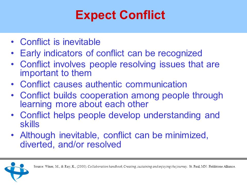 Expect Conflict Conflict is inevitable Early indicators of conflict can be recognized Conflict involves people resolving issues that are important to them Conflict causes authentic communication Conflict builds cooperation among people through learning more about each other Conflict helps people develop understanding and skills Although inevitable, conflict can be minimized, diverted, and/or resolved Source: Winer, M., & Ray, K., (2000).