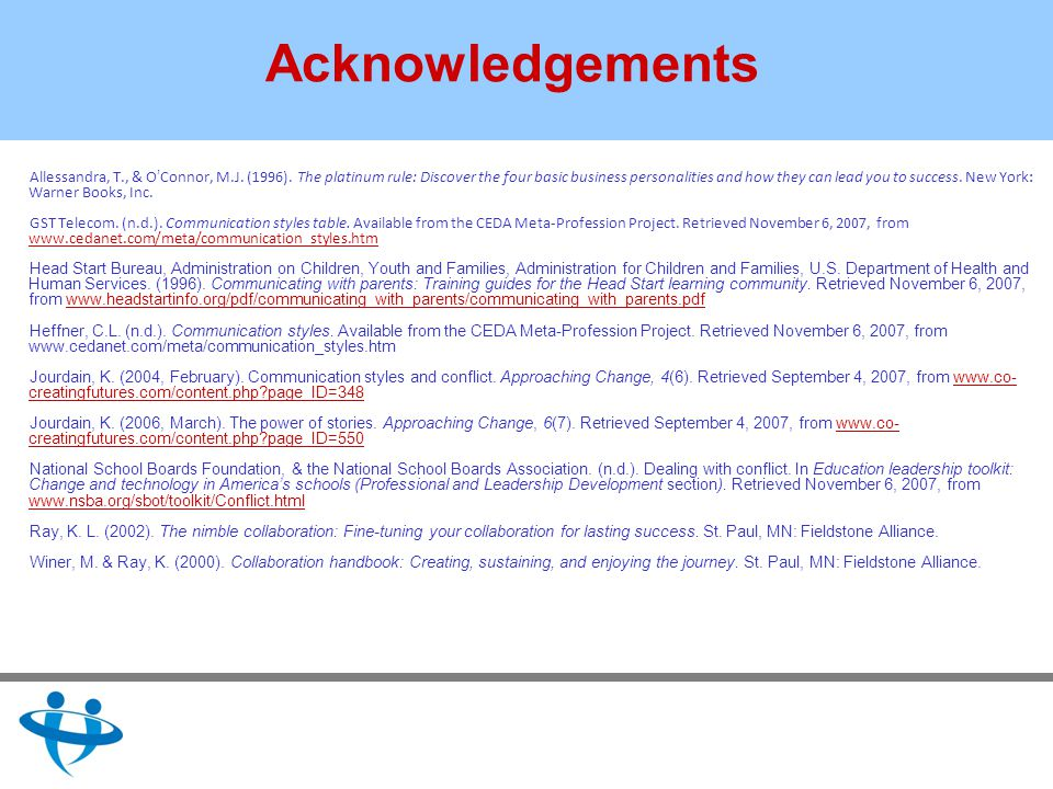 Acknowledgements Allessandra, T., & O Connor, M.J.