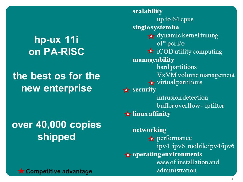 4 scalability up to 64 cpus single system ha dynamic kernel tuning ol* pci i/o iCOD utility computing manageability hard partitions VxVM volume management virtual partitions security intrusion detection buffer overflow - ipfilter linux affinity networking performance ipv4, ipv6, mobile ipv4/ipv6 operating environments ease of installation and administration hp-ux 11i on PA-RISC the best os for the new enterprise over 40,000 copies shipped Competitive advantage