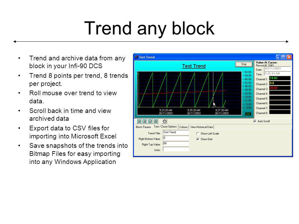 Trend any block Trend and archive data from any block in your Infi-90 DCS Trend 8 points per trend, 8 trends per project.