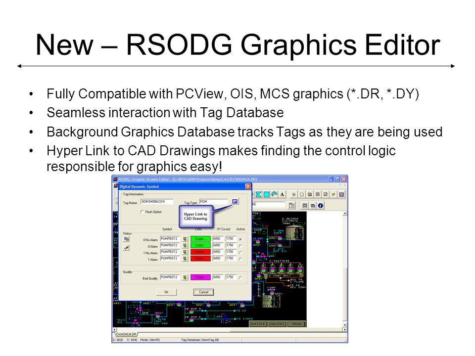 New – RSODG Graphics Editor Fully Compatible with PCView, OIS, MCS graphics (*.DR, *.DY) Seamless interaction with Tag Database Background Graphics Database tracks Tags as they are being used Hyper Link to CAD Drawings makes finding the control logic responsible for graphics easy!