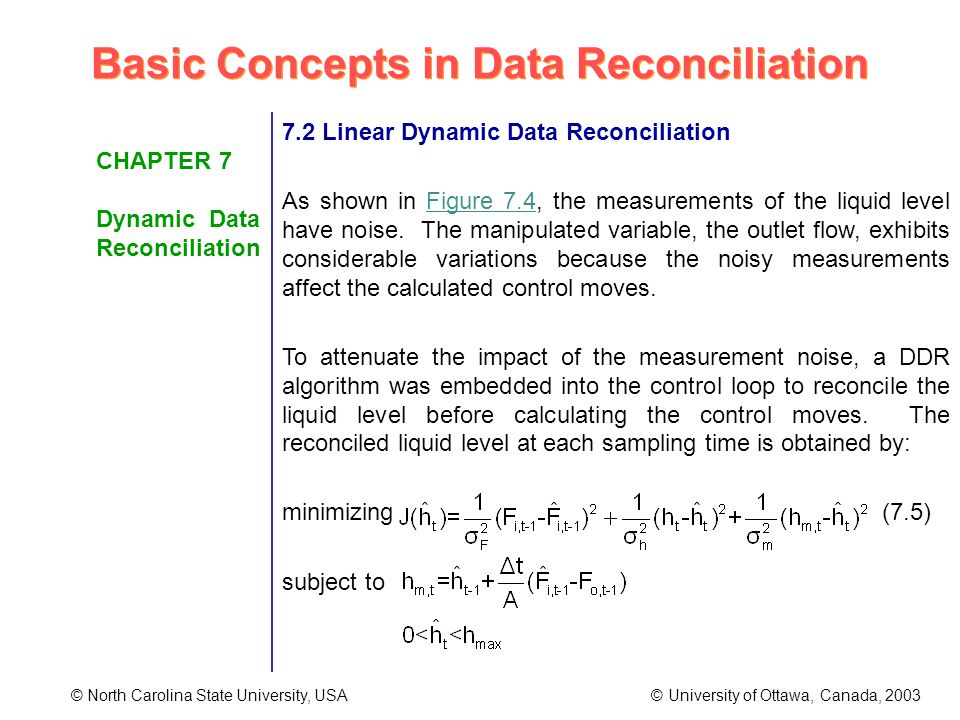 Basic Concepts in Data Reconciliation © North Carolina State University, USA © University of Ottawa, Canada, 2003 CHAPTER 7 Dynamic Data Reconciliation 7.2 Linear Dynamic Data Reconciliation As shown in Figure 7.4, the measurements of the liquid level have noise.