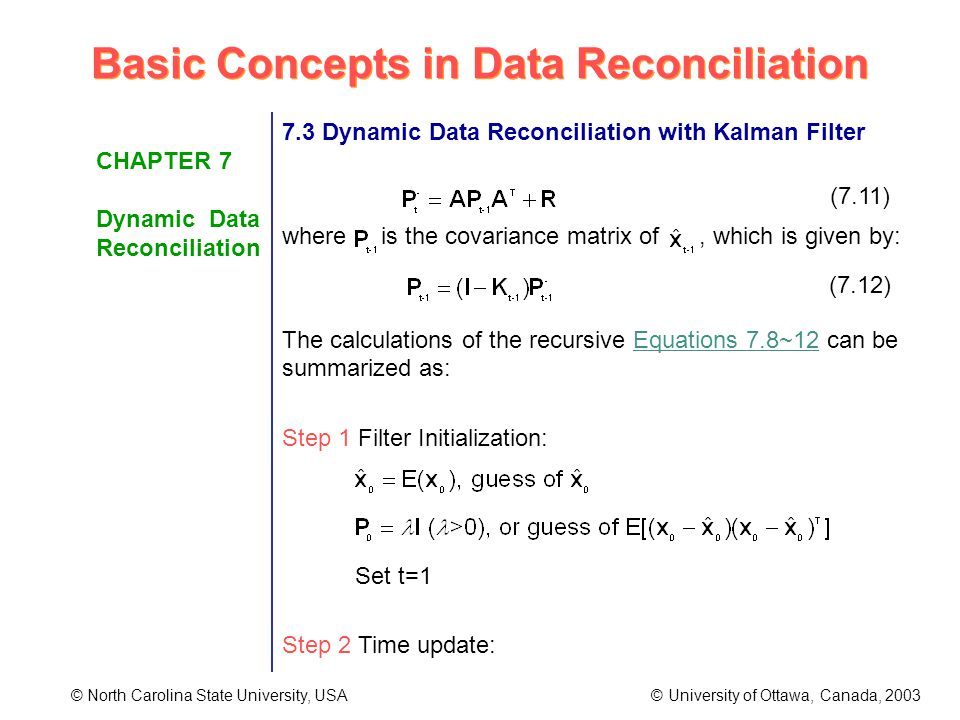 Basic Concepts in Data Reconciliation © North Carolina State University, USA © University of Ottawa, Canada, 2003 CHAPTER 7 Dynamic Data Reconciliation 7.3 Dynamic Data Reconciliation with Kalman Filter where is the covariance matrix of, which is given by: The calculations of the recursive Equations 7.8~12 can be summarized as: Step 1 Filter Initialization: Set t=1 Step 2 Time update: (7.11) (7.12)