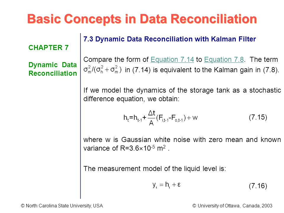 Basic Concepts in Data Reconciliation © North Carolina State University, USA © University of Ottawa, Canada, 2003 CHAPTER 7 Dynamic Data Reconciliation 7.3 Dynamic Data Reconciliation with Kalman Filter Compare the form of Equation 7.14 to Equation 7.8.