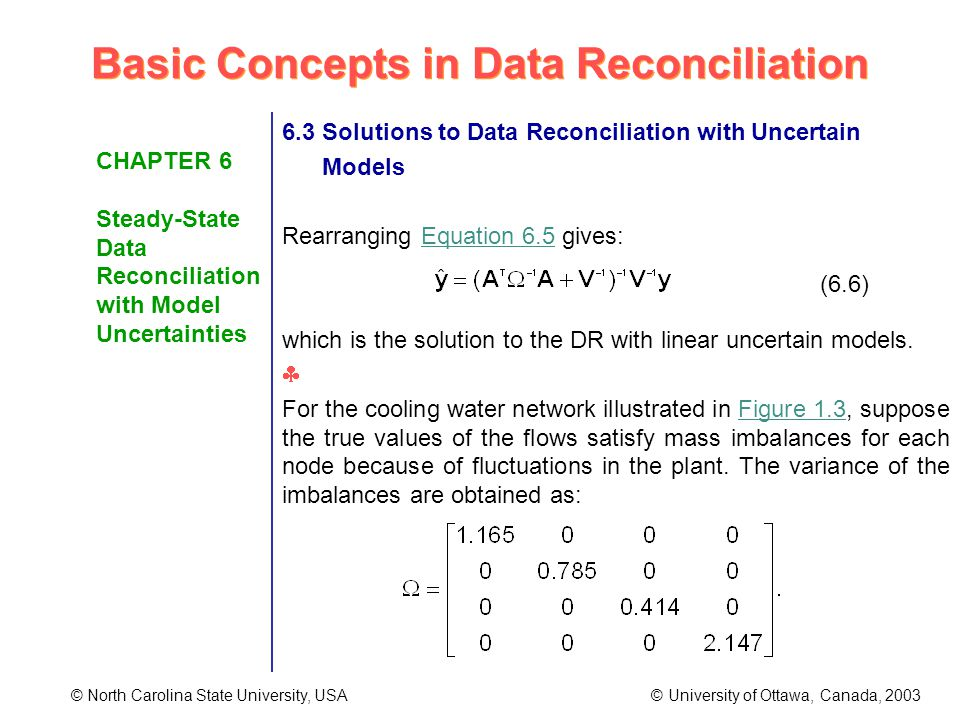 Basic Concepts in Data Reconciliation © North Carolina State University, USA © University of Ottawa, Canada, 2003 CHAPTER 6 Steady-State Data Reconciliation with Model Uncertainties 6.3 Solutions to Data Reconciliation with Uncertain Models Rearranging Equation 6.5 gives: which is the solution to the DR with linear uncertain models.