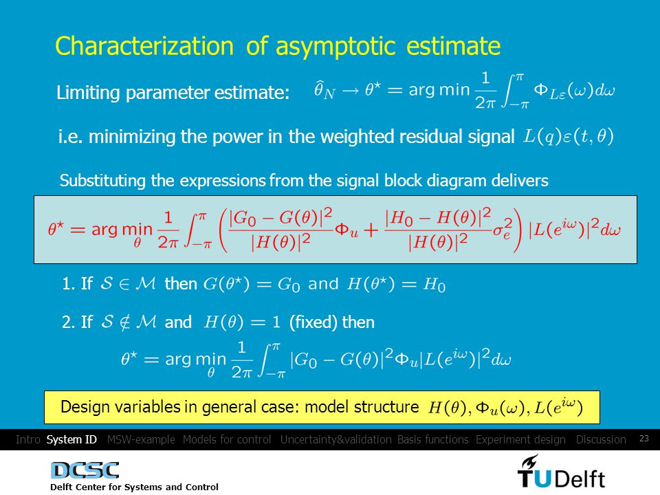 Delft Center for Systems and Control 23 Characterization of asymptotic estimate Limiting parameter estimate: i.e.