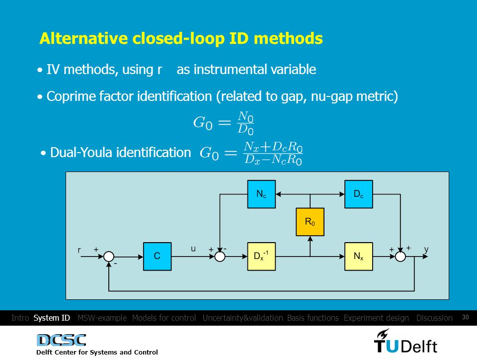 Delft Center for Systems and Control 30 Intro System ID MSW-example Models for control Uncertainty&validation Basis functions Experiment design Discussion Alternative closed-loop ID methods IV methods, using r as instrumental variable Coprime factor identification (related to gap, nu-gap metric) Dual-Youla identification