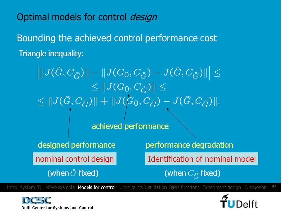 Delft Center for Systems and Control 53 Optimal models for control design Bounding the achieved control performance cost Triangle inequality: achieved performance designed performanceperformance degradation nominal control design (when fixed) Identification of nominal model (when fixed) Intro System ID MSW-example Models for control Uncertainty&validation Basis functions Experiment design Discussion