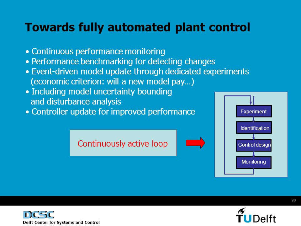 Delft Center for Systems and Control 98 Towards fully automated plant control Continuous performance monitoring Performance benchmarking for detecting changes Event-driven model update through dedicated experiments (economic criterion: will a new model pay…) Including model uncertainty bounding and disturbance analysis Controller update for improved performance Monitoring Control design Identification Experiment Continuously active loop