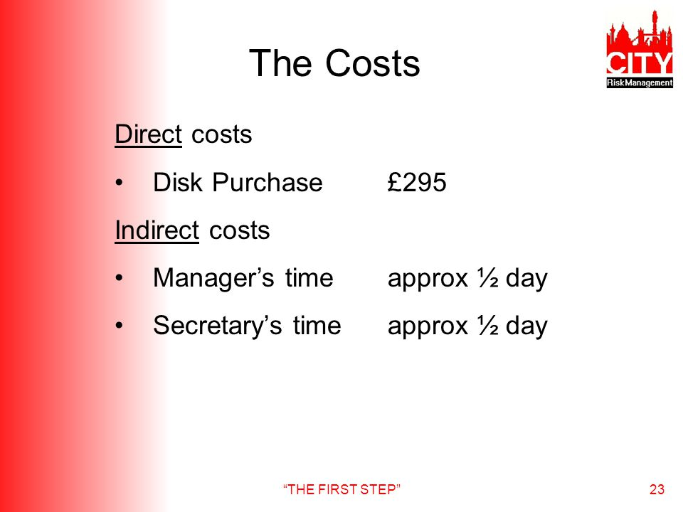 THE FIRST STEP23 The Costs Direct costs Disk Purchase£295 Indirect costs Managers timeapprox ½ day Secretarys timeapprox ½ day
