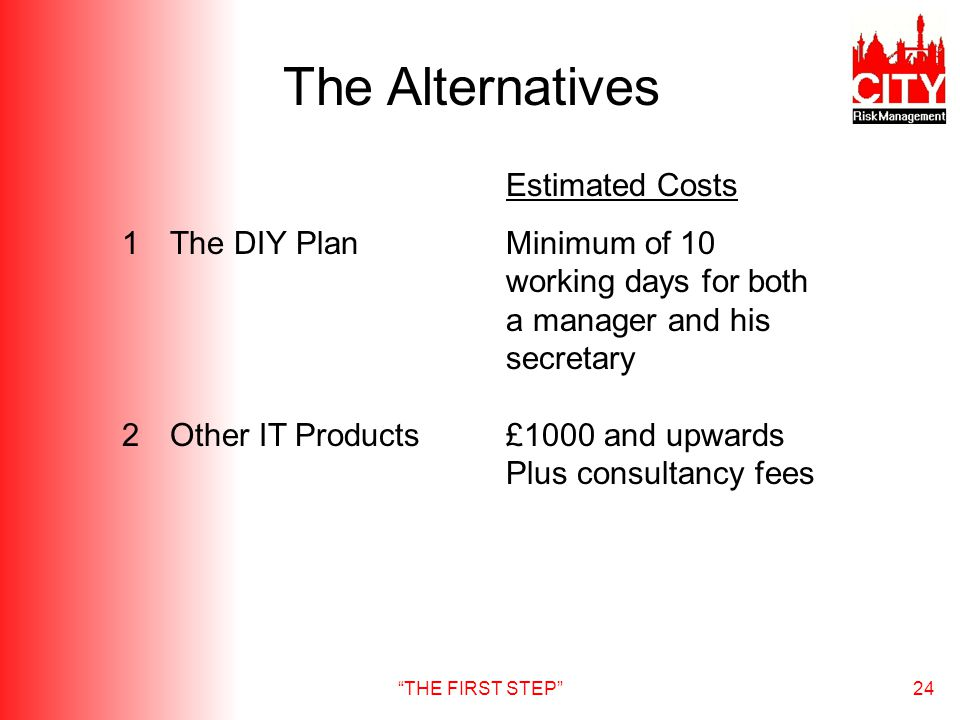 THE FIRST STEP24 The Alternatives Estimated Costs 1The DIY PlanMinimum of 10 working days for both a manager and his secretary 2Other IT Products£1000 and upwards Plus consultancy fees