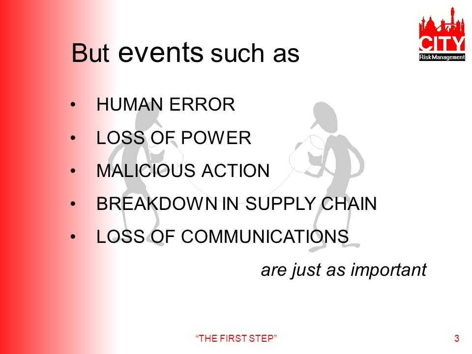 THE FIRST STEP3 But events such as HUMAN ERROR LOSS OF POWER MALICIOUS ACTION BREAKDOWN IN SUPPLY CHAIN LOSS OF COMMUNICATIONS are just as important