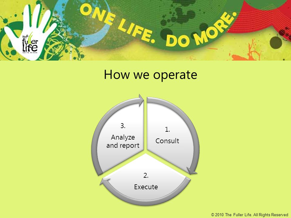 How we operate 1. Consult 2. Execute 3. Analyze and report © 2010 The Fuller Life.