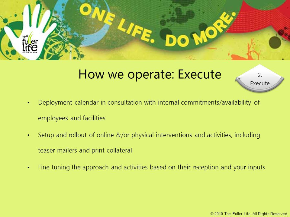 How we operate: Execute Deployment calendar in consultation with internal commitments/availability of employees and facilities Setup and rollout of online &/or physical interventions and activities, including teaser mailers and print collateral Fine tuning the approach and activities based on their reception and your inputs 2.