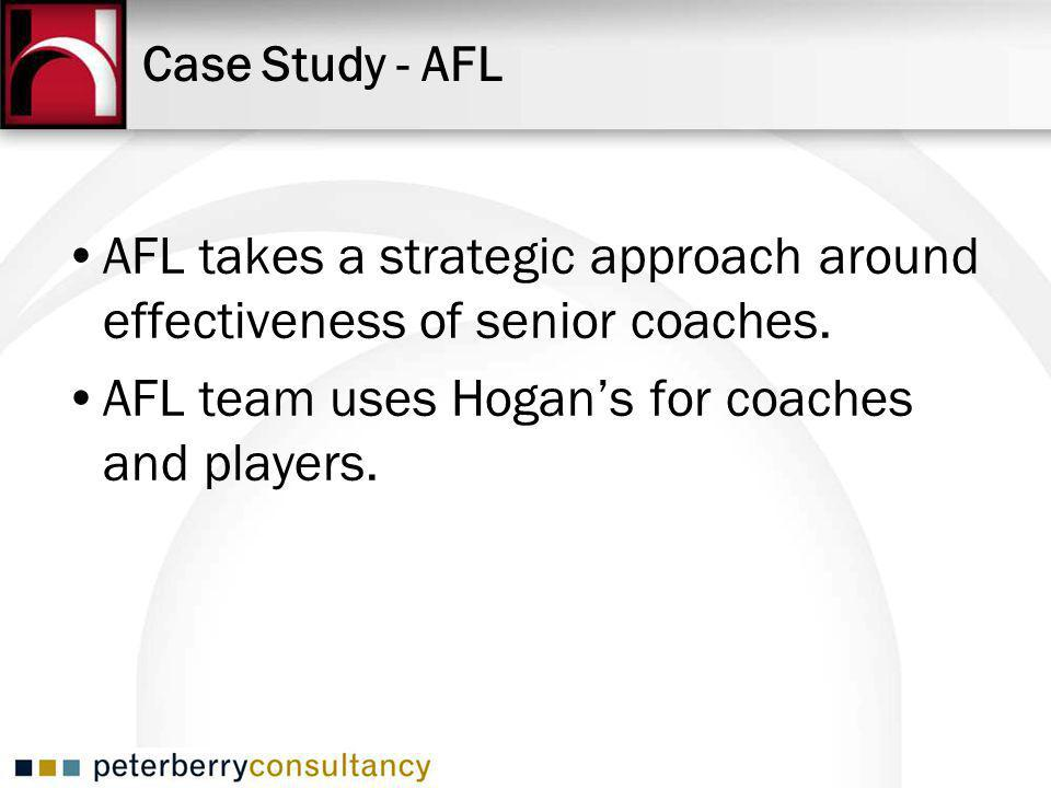 Case Study - AFL AFL takes a strategic approach around effectiveness of senior coaches.