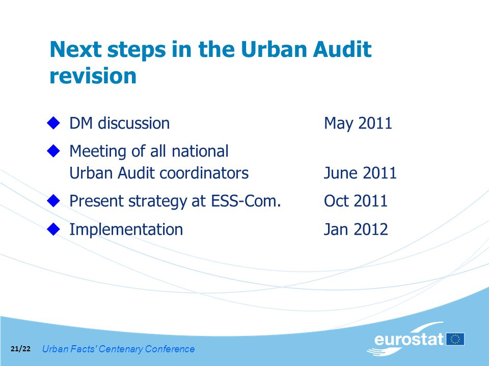 Urban Facts Centenary Conference 21/22 Next steps in the Urban Audit revision DM discussionMay 2011 Meeting of all national Urban Audit coordinatorsJune 2011 Present strategy at ESS-Com.Oct 2011 ImplementationJan 2012