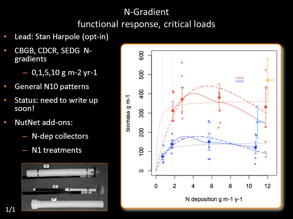 N-Gradient functional response, critical loads Lead: Stan Harpole (opt-in) CBGB, CDCR, SEDG N- gradients – 0,1,5,10 g m-2 yr-1 General N10 patterns Status: need to write up soon.