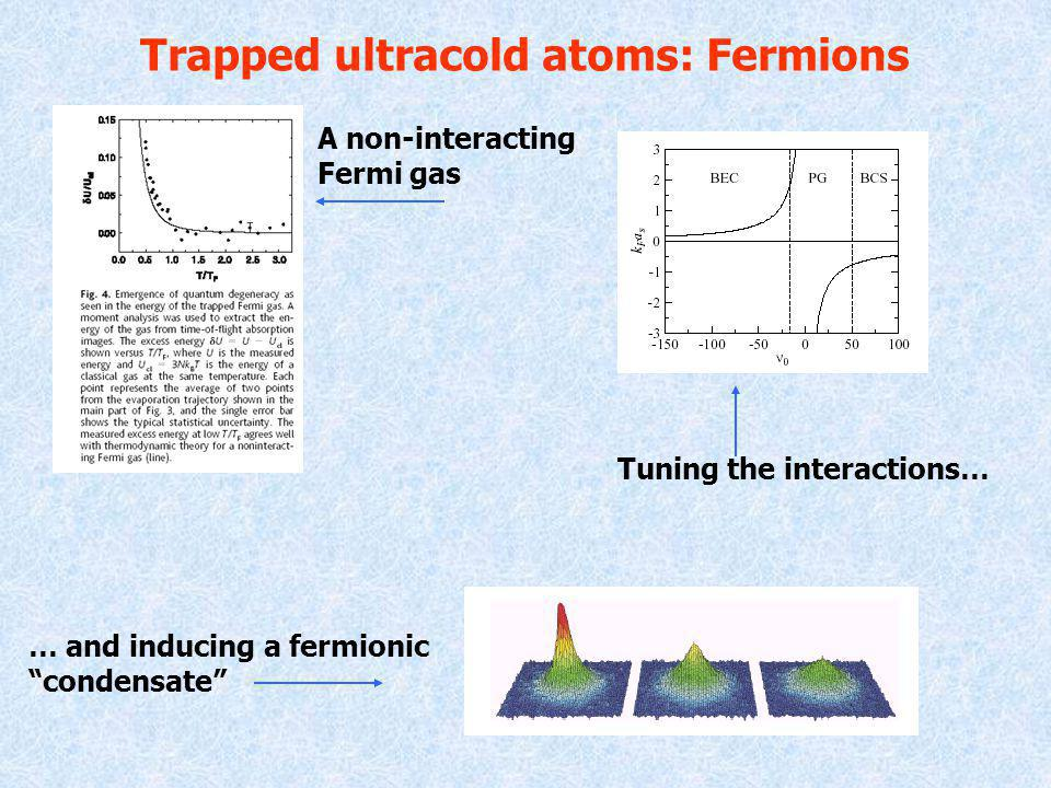 Trapped ultracold atoms: Fermions Tuning the interactions… … and inducing a fermionic condensate A non-interacting Fermi gas