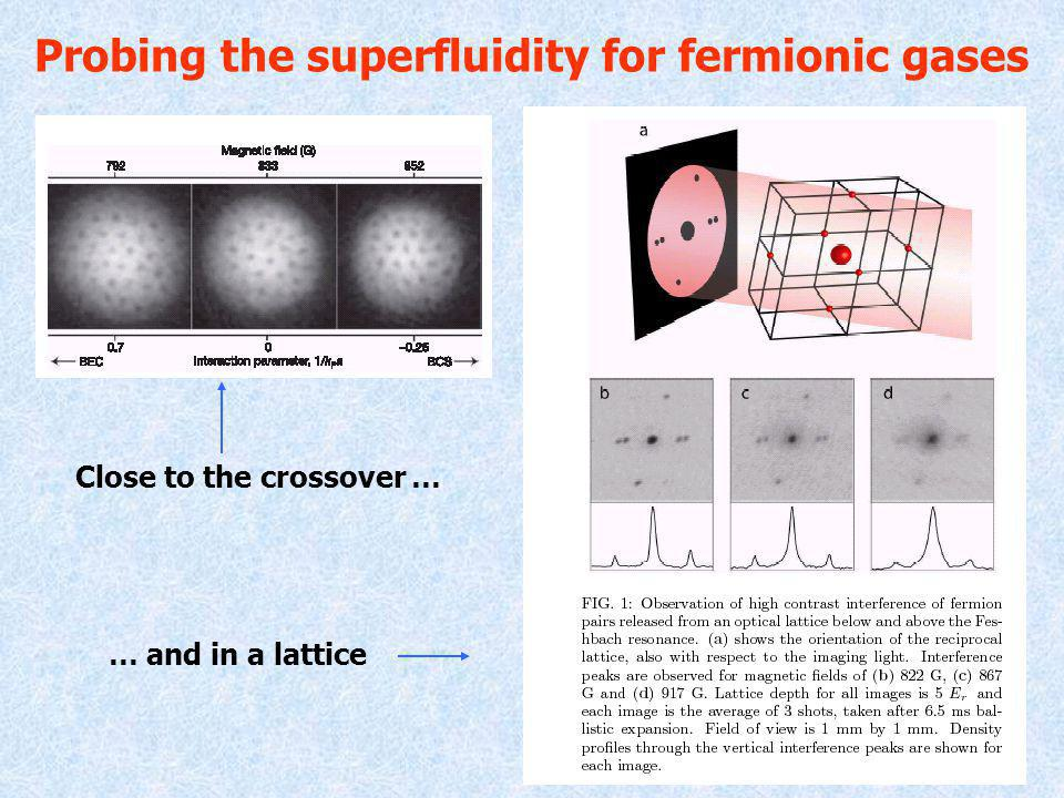 Probing the superfluidity for fermionic gases Close to the crossover … … and in a lattice