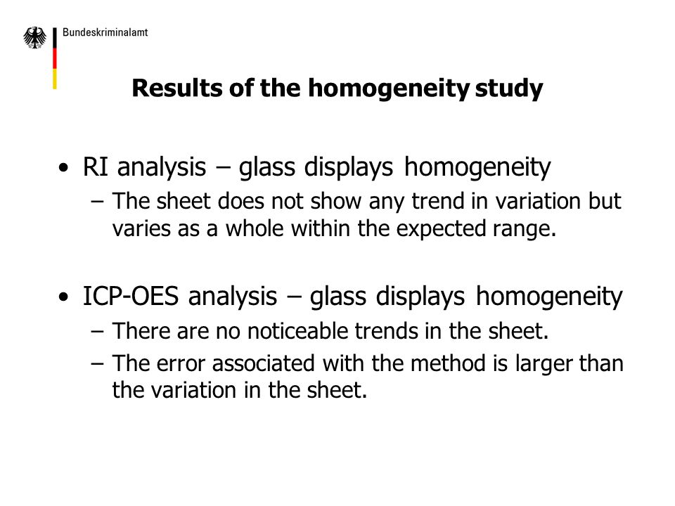 RI analysis – glass displays homogeneity –The sheet does not show any trend in variation but varies as a whole within the expected range.