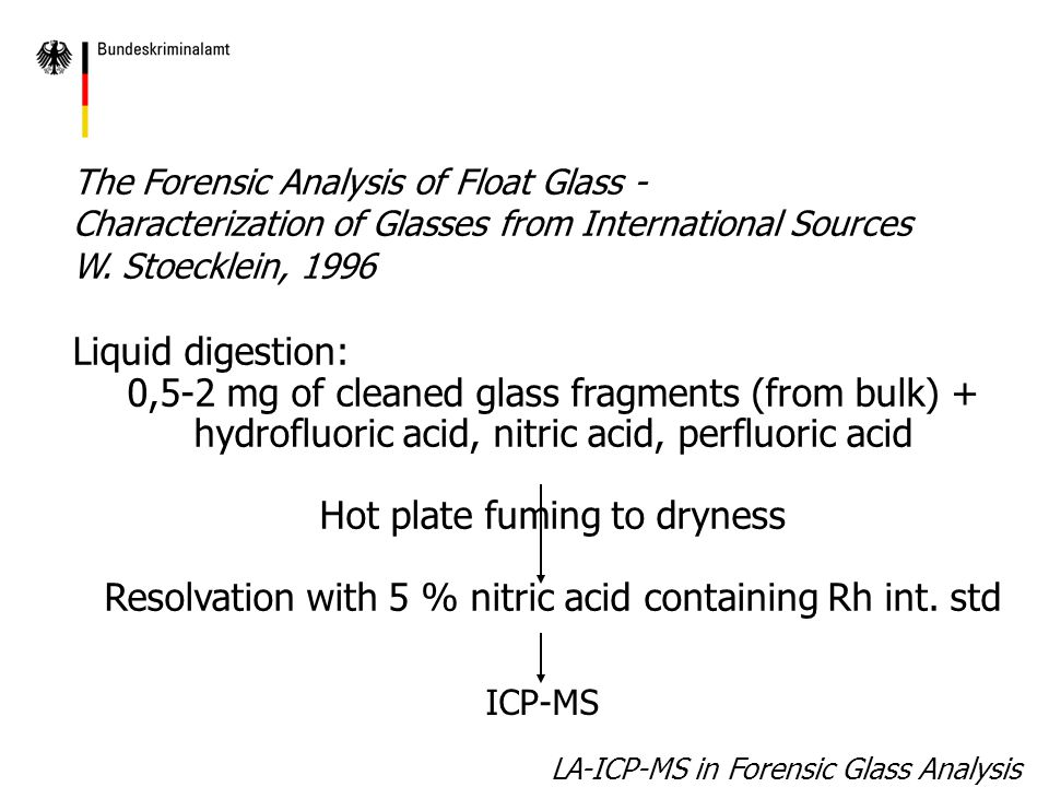 LA-ICP-MS in Forensic Glass Analysis The Forensic Analysis of Float Glass - Characterization of Glasses from International Sources W.