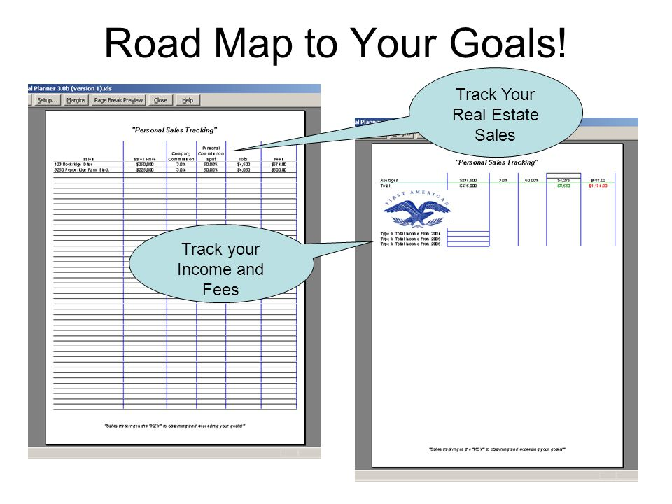 Road Map to Your Goals! Track Your Real Estate Sales Track your Income and Fees