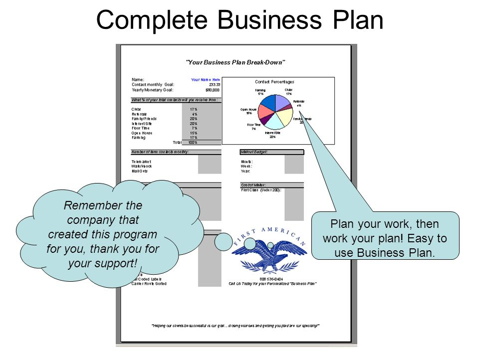 Complete Business Plan Plan your work, then work your plan.