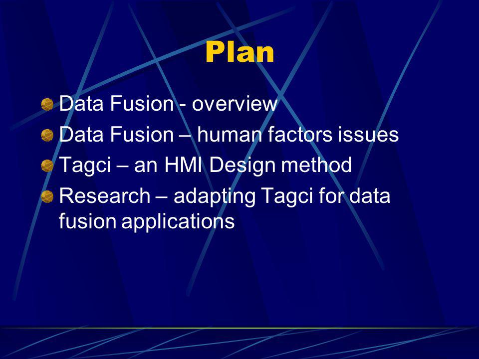 Plan Data Fusion - overview Data Fusion – human factors issues Tagci – an HMI Design method Research – adapting Tagci for data fusion applications