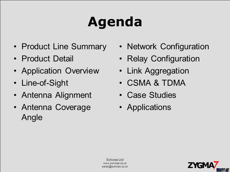 Agenda Product Line Summary Product Detail Application Overview Line-of-Sight Antenna Alignment Antenna Coverage Angle Network Configuration Relay Configuration Link Aggregation CSMA & TDMA Case Studies Applications