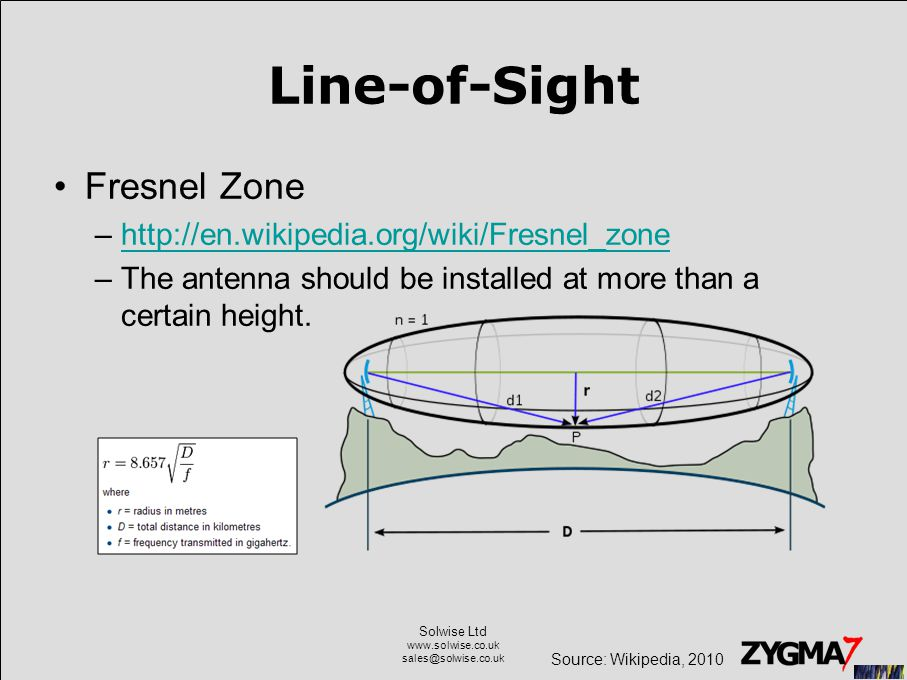 Solwise Ltd www.solwise.co.uk sales@solwise.co.uk Line-of-Sight Fresnel Zone –http://en.wikipedia.org/wiki/Fresnel_zonehttp://en.wikipedia.org/wiki/Fresnel_zone –The antenna should be installed at more than a certain height.
