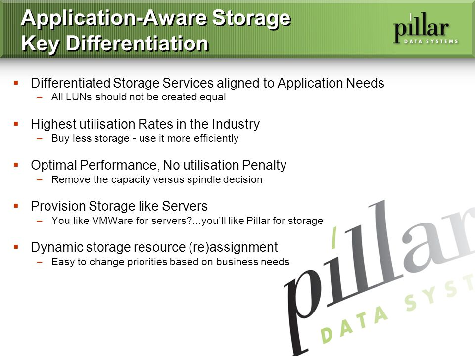 3 Application-Aware Storage Key Differentiation Differentiated Storage Services aligned to Application Needs –All LUNs should not be created equal Highest utilisation Rates in the Industry –Buy less storage - use it more efficiently Optimal Performance, No utilisation Penalty –Remove the capacity versus spindle decision Provision Storage like Servers –You like VMWare for servers ...youll like Pillar for storage Dynamic storage resource (re)assignment –Easy to change priorities based on business needs