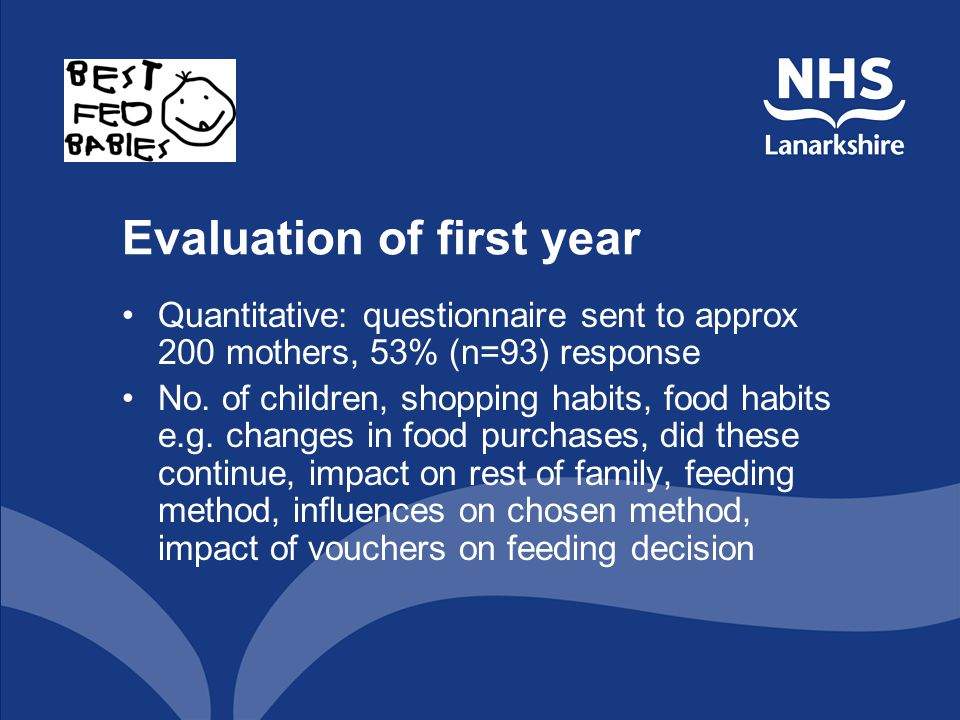 Evaluation of first year Quantitative: questionnaire sent to approx 200 mothers, 53% (n=93) response No.
