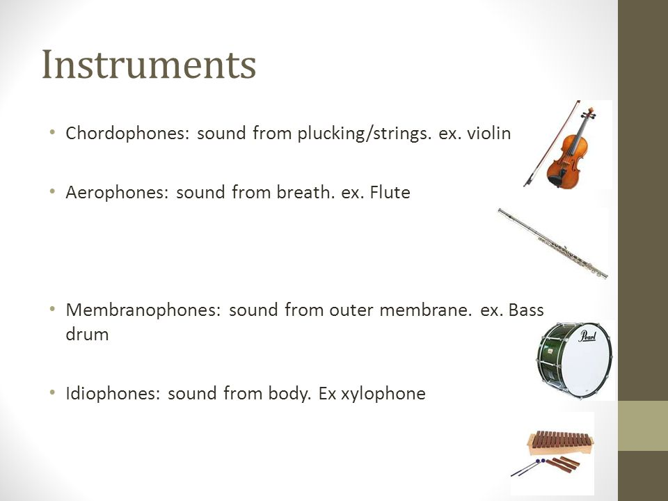 Instruments Chordophones: sound from plucking/strings.