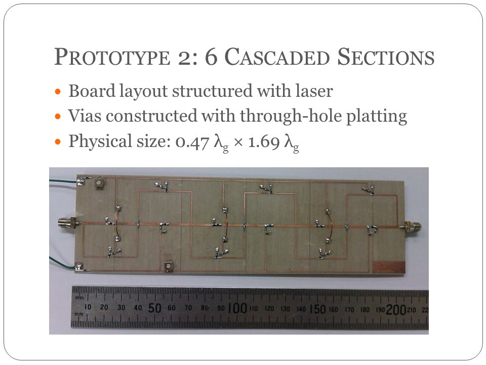 P ROTOTYPE 2: 6 C ASCADED S ECTIONS Board layout structured with laser Vias constructed with through-hole platting Physical size: 0.47 λ g × 1.69 λ g