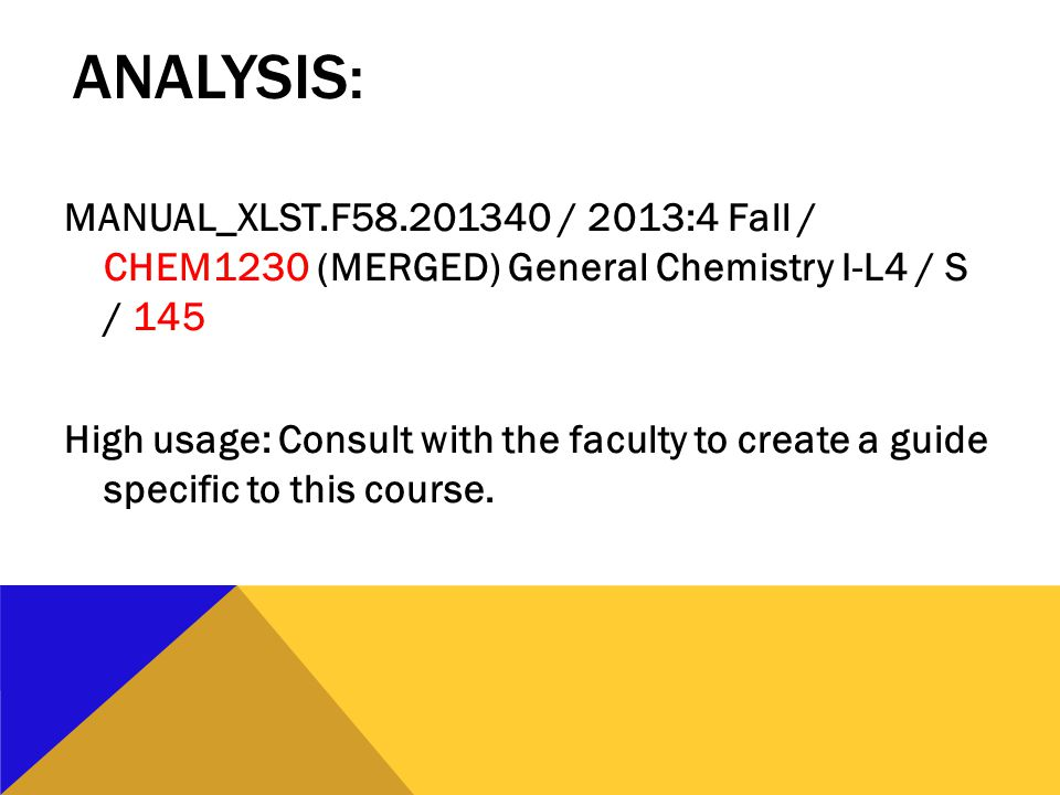 ANALYSIS: MANUAL_XLST.F58.201340 / 2013:4 Fall / CHEM1230 (MERGED) General Chemistry I-L4 / S / 145 High usage: Consult with the faculty to create a guide specific to this course.