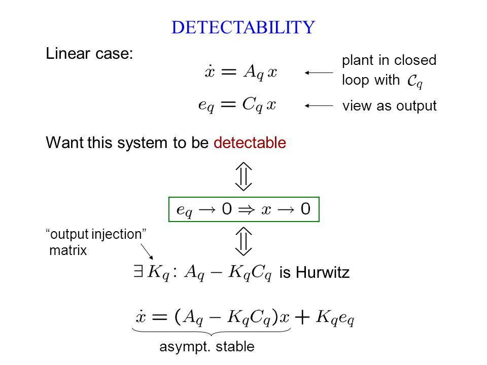 DETECTABILITY Want this system to be detectable output injection matrix asympt.