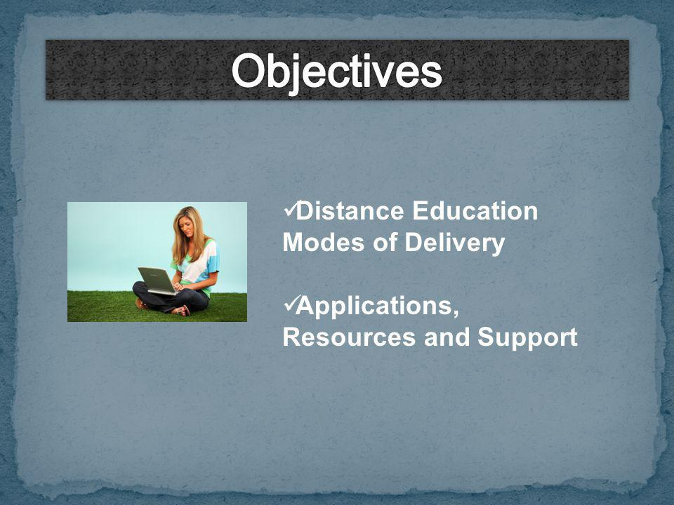 Distance Education Modes of Delivery Applications, Resources and Support
