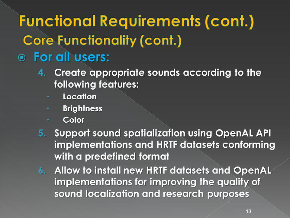 For all users: For all users: 4.Create appropriate sounds according to the following features: Location Location Brightness Brightness Color Color 5.Support sound spatialization using OpenAL API implementations and HRTF datasets conforming with a predefined format 6.Allow to install new HRTF datasets and OpenAL implementations for improving the quality of sound localization and research purposes 13