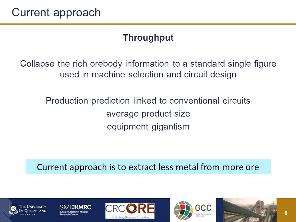 6 Throughput Collapse the rich orebody information to a standard single figure used in machine selection and circuit design Production prediction linked to conventional circuits average product size equipment gigantism Current approach Current approach is to extract less metal from more ore