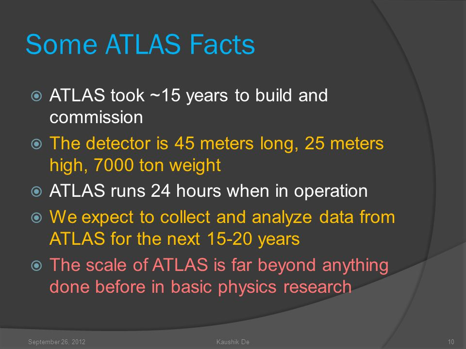 Some ATLAS Facts ATLAS took ~15 years to build and commission The detector is 45 meters long, 25 meters high, 7000 ton weight ATLAS runs 24 hours when in operation We expect to collect and analyze data from ATLAS for the next 15-20 years The scale of ATLAS is far beyond anything done before in basic physics research 10September 26, 2012Kaushik De