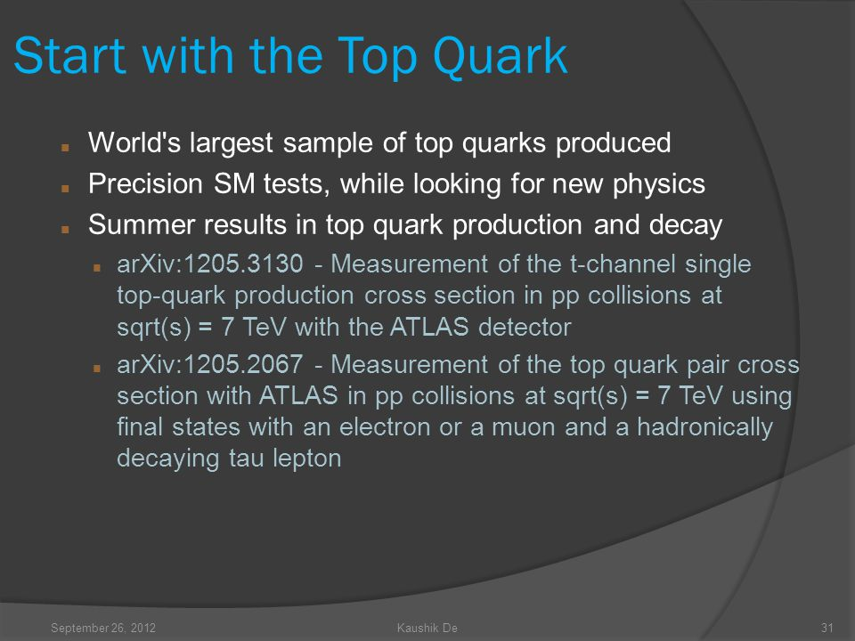 September 26, 2012Kaushik De31 Start with the Top Quark World s largest sample of top quarks produced Precision SM tests, while looking for new physics Summer results in top quark production and decay arXiv:1205.3130 - Measurement of the t-channel single top-quark production cross section in pp collisions at sqrt(s) = 7 TeV with the ATLAS detector arXiv:1205.2067 - Measurement of the top quark pair cross section with ATLAS in pp collisions at sqrt(s) = 7 TeV using final states with an electron or a muon and a hadronically decaying tau lepton