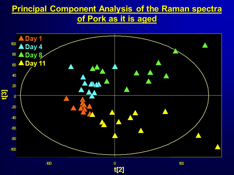 -100 -80 -60 -40 -20 0 20 40 60 80 100 -1000100 t[3] t[2] Day 1 Day 4 Day 11 Day 8 Principal Component Analysis of the Raman spectra of Pork as it is aged