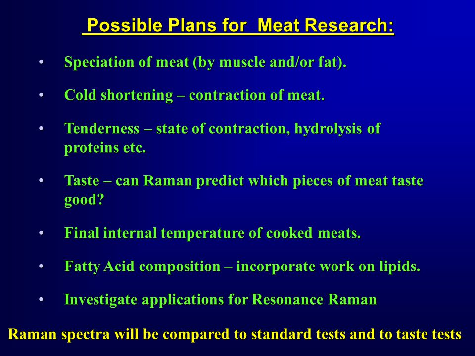 Possible Plans for Meat Research: Possible Plans for Meat Research: Speciation of meat (by muscle and/or fat).Speciation of meat (by muscle and/or fat).