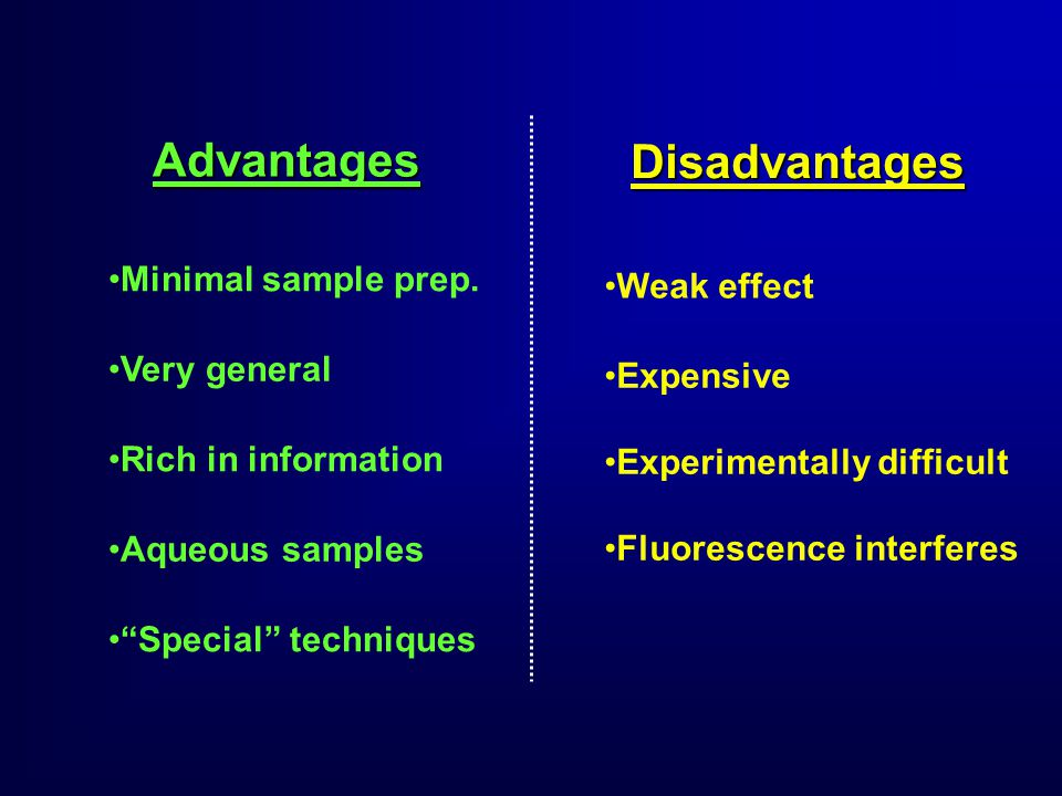 Weak effect Advantages Minimal sample prep.