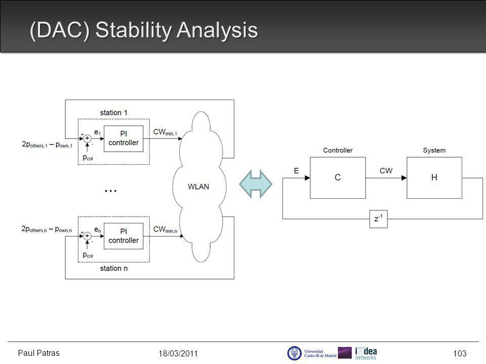 18/03/2011 (DAC) Stability Analysis Paul Patras 103