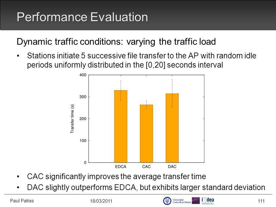 18/03/2011 Performance Evaluation Dynamic traffic conditions: varying the traffic load Stations initiate 5 successive file transfer to the AP with random idle periods uniformly distributed in the [0,20] seconds interval CAC significantly improves the average transfer time DAC slightly outperforms EDCA, but exhibits larger standard deviation Paul Patras 111