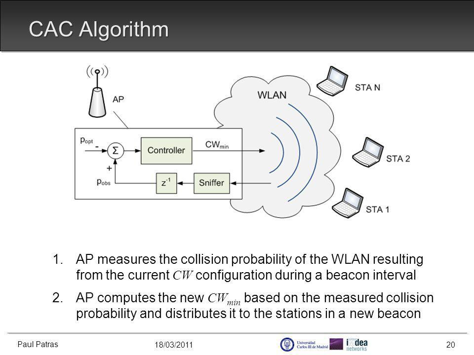 18/03/2011 CAC Algorithm 1.AP measures the collision probability of the WLAN resulting from the current CW configuration during a beacon interval 2.AP computes the new CW min based on the measured collision probability and distributes it to the stations in a new beacon Paul Patras 20