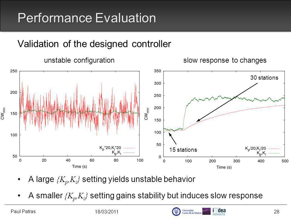 18/03/2011 Validation of the designed controller unstable configuration slow response to changes A large {K p,K i } setting yields unstable behavior A smaller {K p,K i } setting gains stability but induces slow response Performance Evaluation Paul Patras 28 15 stations 30 stations